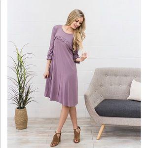 Ruffle Detail Lavender Swing Dress Boutique Med
